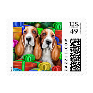Basset Hound Christmas Open Gifts Postage Stamp