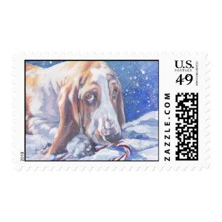 Basset Hound Christmas Postage Stamp