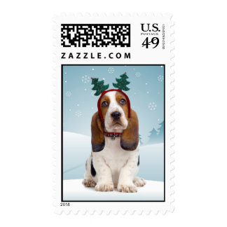 Basset Hound Christmas Postage Stamps
