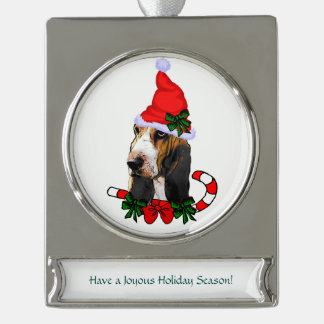 Basset Hound Christmas Silver Plated Banner Ornament