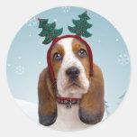 Basset Hound Christmas Stickers