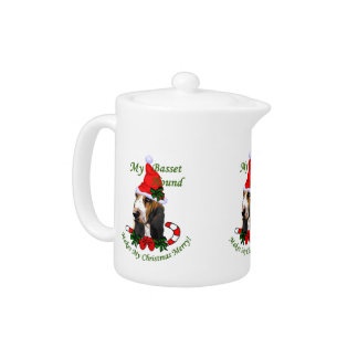 Basset Hound Christmas Teapot