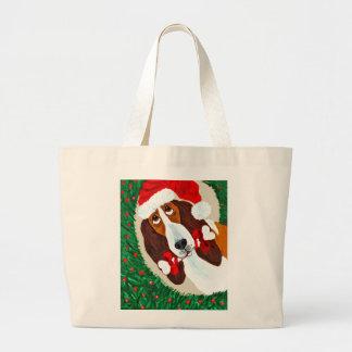 Basset Hound Christmas Wreath Canvas Bags