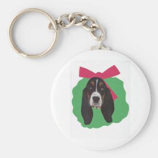 Basset Hound Christmas Wreath Keychain