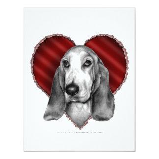 """Basset Hound con el corazón Invitación 4.25"""" X 5.5"""""""