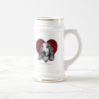 Basset Hound con el corazón Taza De Café