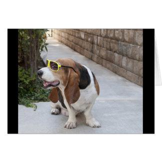 Basset Hound con las gafas de sol Tarjeta Pequeña