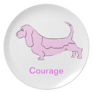 Basset Hound Courage Cancer Awareness Plate