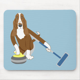 Basset Hound Curling Mouse Pad