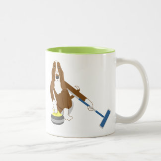 Basset Hound Curling Two-Tone Coffee Mug