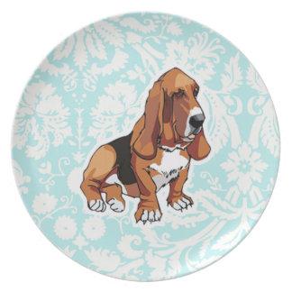 Basset Hound; Cute Dinner Plate