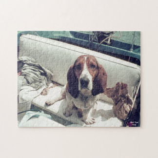Basset Hound, Cute Dog in Boat Fishing Jigsaw Puzzle