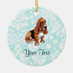 Basset Hound; Cute Double-Sided Ceramic Round Christmas Ornament