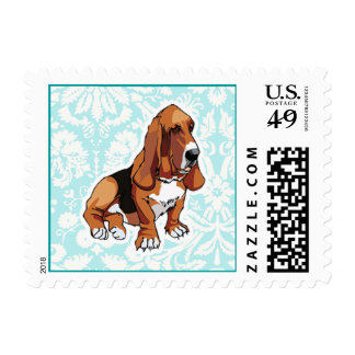 Basset Hound; Cute Postage Stamps