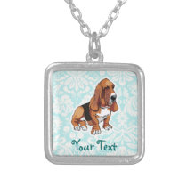 Basset Hound; Cute Silver Plated Necklace