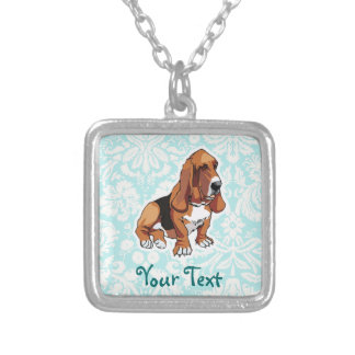 Basset Hound; Cute Square Pendant Necklace
