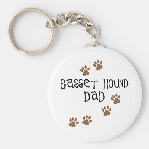 Basset Hound Dad Basic Round Button Keychain