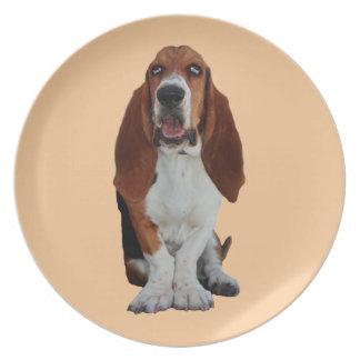Basset Hound dog beautiful photo dish, plate