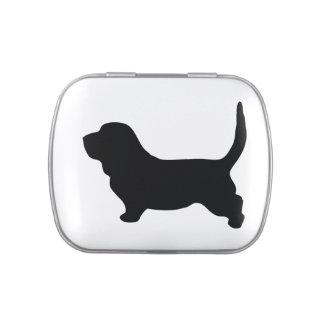 Basset Hound dog black silhouette candy tin