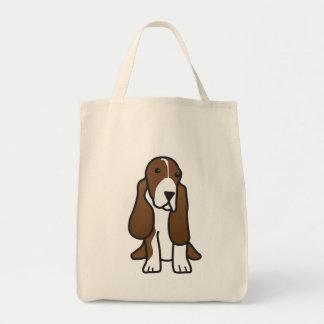 Basset Hound Dog Cartoon Grocery Tote Bag