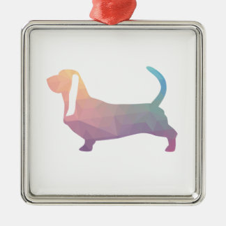 Basset Hound Dog Colorful Geometric Silhouette Metal Ornament