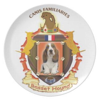 Basset Hound Dog Crest Plate with flag of France