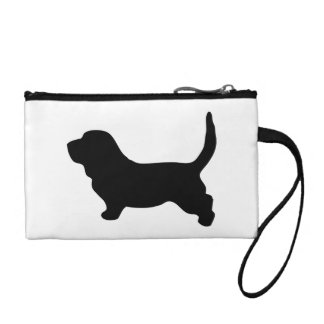 Basset Hound dog cute black silhouette, gift Coin Purses