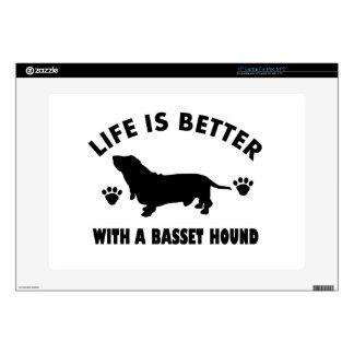 """basset hound dog design skin for 15"""" laptop"""
