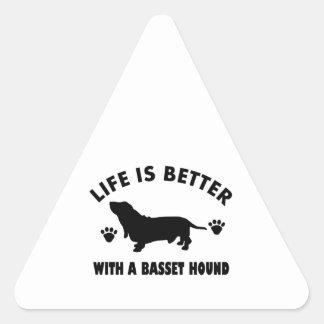 basset hound dog design triangle sticker