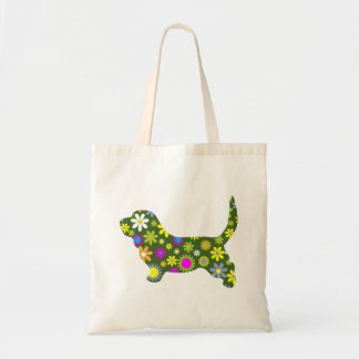 Basset Hound dog funky floral flowers colorful fun Budget Tote Bag