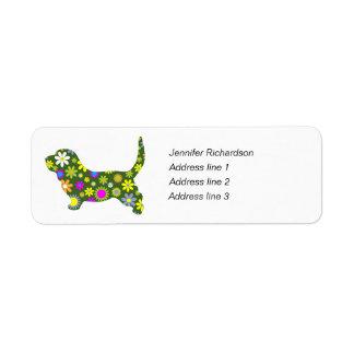 Basset Hound dog funky floral retro address labels