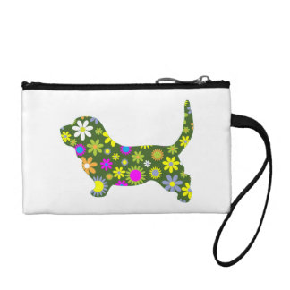 Basset Hound dog funky floral retro flowers fun Coin Purse