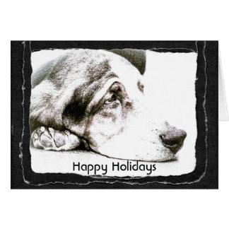 "Basset Hound Dog ""Happy Holidays"" Card"