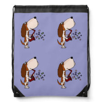 Basset Hound Dog Playing Saxophone Drawstring Backpack