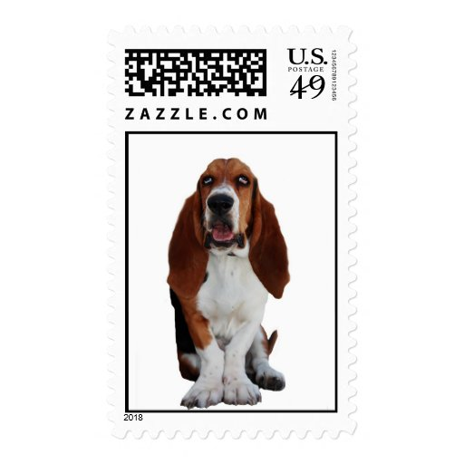Basset Hound Dog Postage Stamp