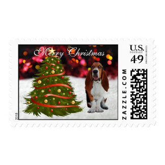 Basset Hound dog pup snow tree custom Christmas Stamps