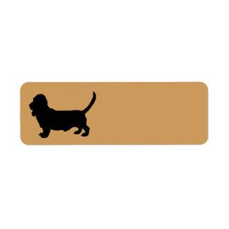 Basset Hound Dog Silhouette Label