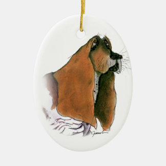 Basset Hound Dog, tony fernandes Ceramic Ornament