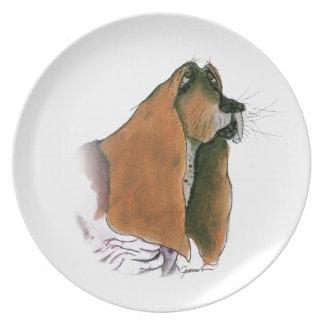 Basset Hound Dog, tony fernandes Plate