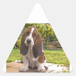 Basset Hound Dog Triangle Sticker