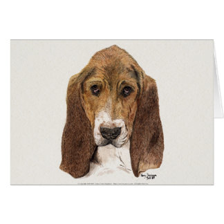 Basset Hound Dog, Watercolor Card