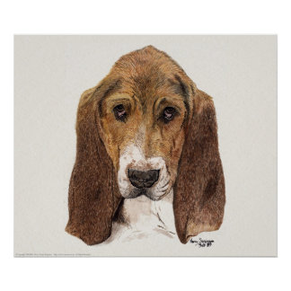 Basset Hound Dog, Watercolor Poster