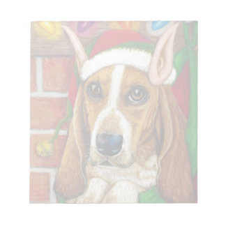 Basset Hound dog with Santa Elf Ear in Stocking Note Pad