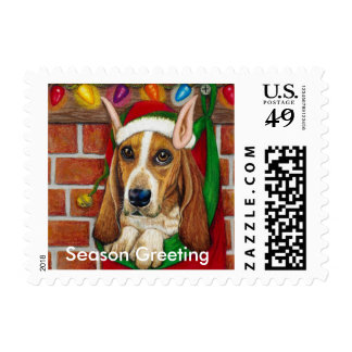 Basset Hound dog with Santa Elf Ear in Stocking Postage Stamp