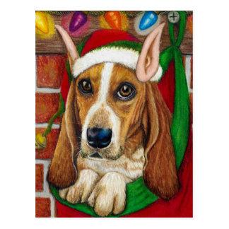Basset Hound dog with Santa Elf Ear in Stocking Postcard