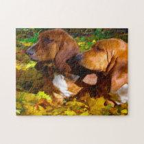 Basset Hound Dogs. Jigsaw Puzzle