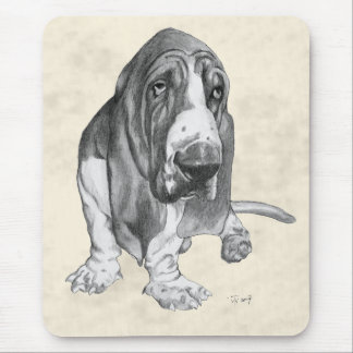 Basset Hound Drawing Mouse Pad