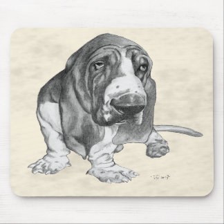 Basset Hound Drawing Mouse Pads