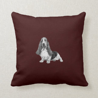 Basset Hound Drawing Throw Pillow