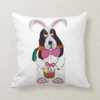 Basset Hound Easter Bunny Pillow